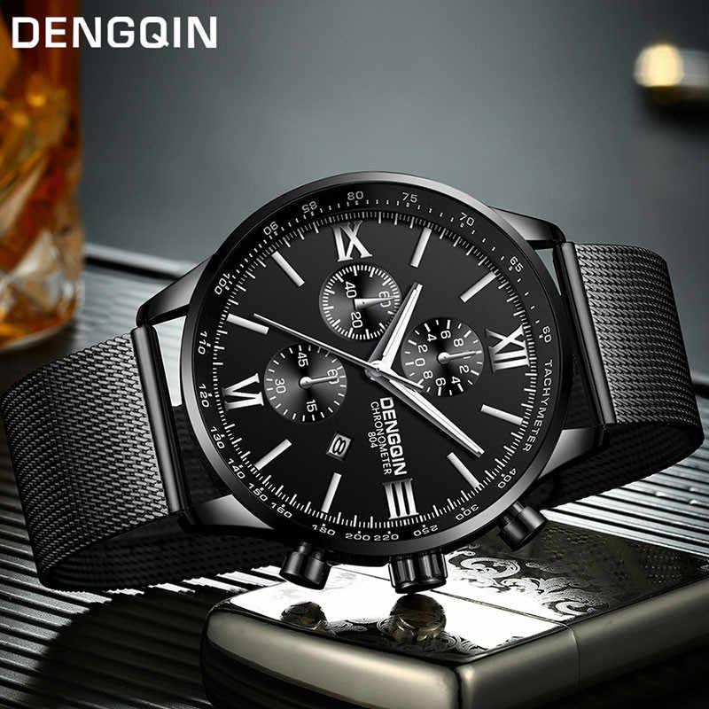 DENGQIN мужские наручные часы повседневные из нержавеющей стали Кварцевые аналоговые с датой часы мужские часы s 2019 мужские наручные часы