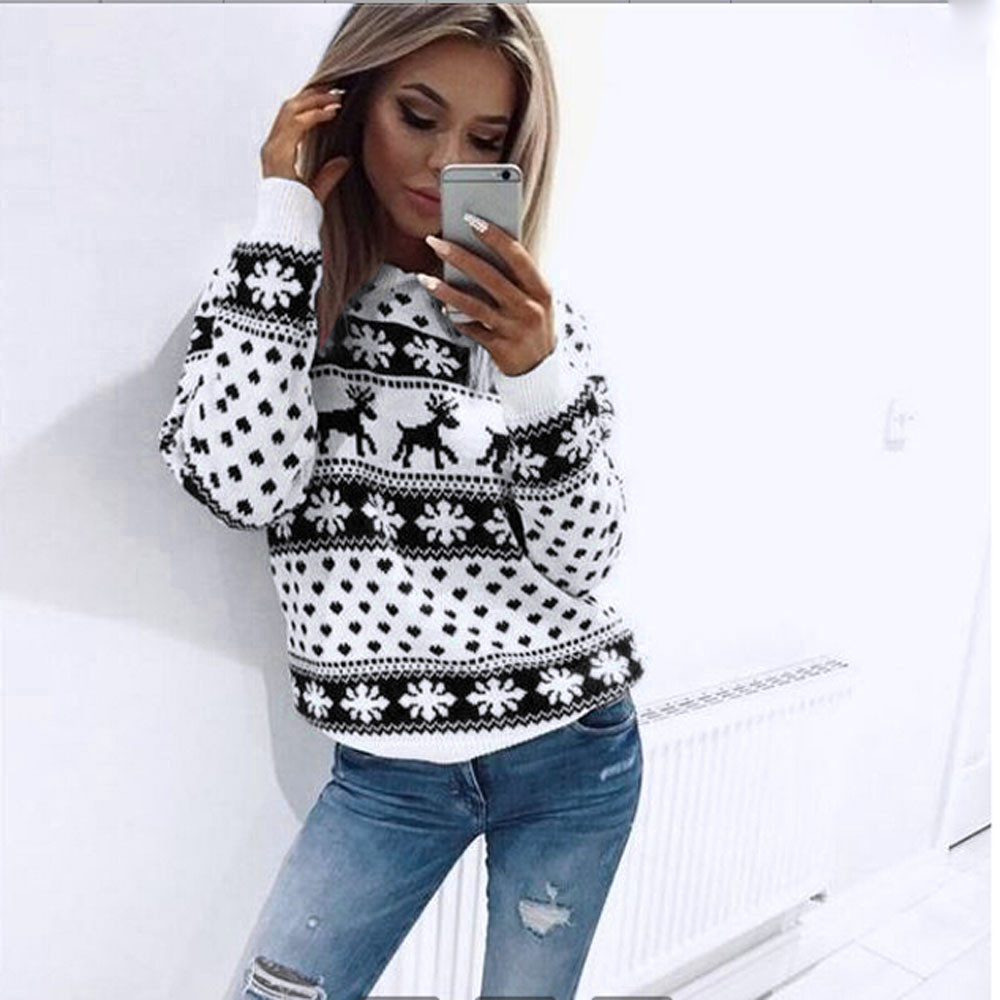 Winter Women Christmas Red Deer And Maple Leaf Pattern Snowflake Printed Long Sleeve Casual Crochet Pullover Mujer