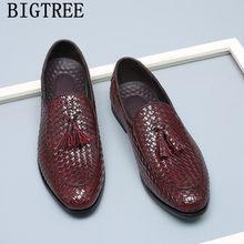 77ff5dc1cf Zapatos de vestir para Hombre marca de lujo borlas calzado plano  deslizamiento en mocasines Hombre cuero tejido Oxford zapatos p.