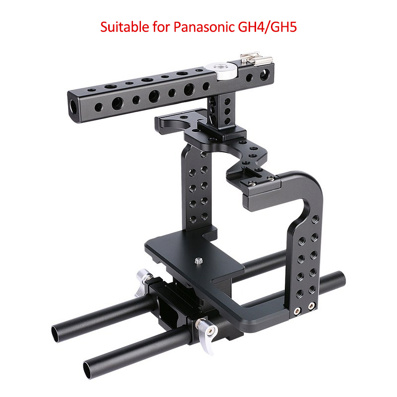 YELANGU GH5 Cage with Aviation Aluminum Precision CNC Design Stabilizer Lumix DSLR Camera Cage Kit Rig for Panasonic GH4/GH5 yelangu aluminum alloy camera video cage kit film system with video cage top handle grip matte box follow focus for dslr