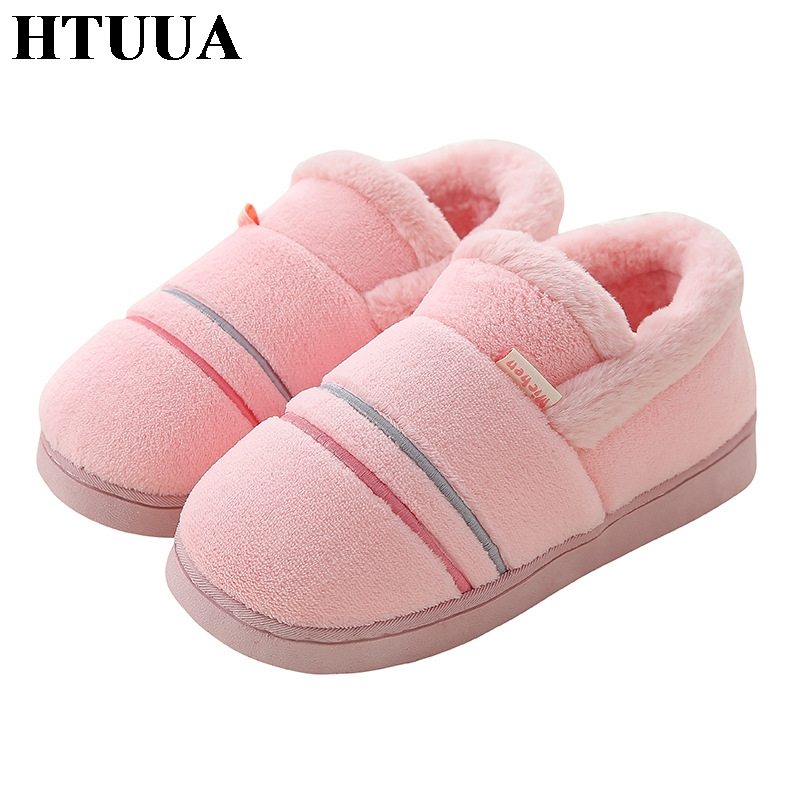 HTUUA Indoor Slippers Shoes Flats Couple Plush Female Winter Women Warm On Cotton Soft