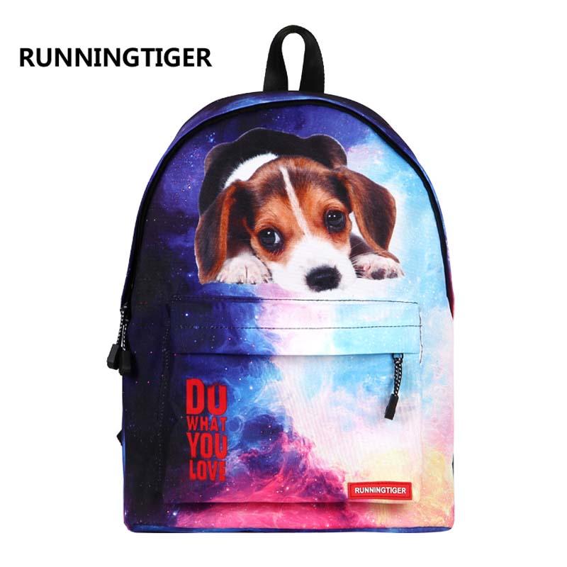 где купить RUNNINGTIGER 3D Animal Printing Backpack Women School Bags female Canvas mochila school bags for teenagers travel bags по лучшей цене