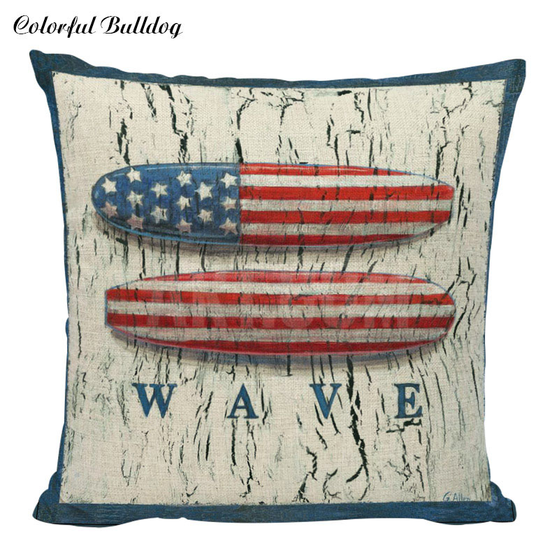 Ocean Style Cotton Linen Throw Pillow Covers Colorful Cases Bedroom Decorative Vintage USA Flag Boat Starfish Cushion Covers