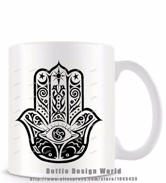 Yoga Buddha Hand Von Fatima Lustige Neuheit Reisebecher Keramik Weiss