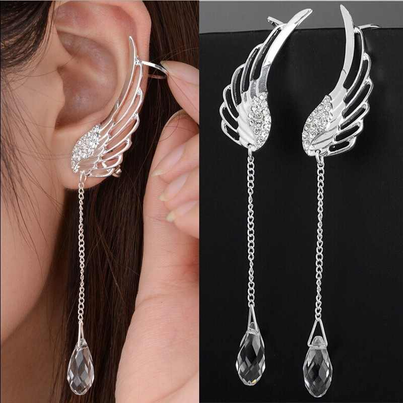 Angel Wings Earrings for Women Rhinestone Inlaid Alloy Ear Jewelry Party Wedding Earrings Fashion Gothic Feather Brincos Z3E630