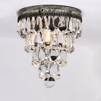 American vintage bedside entranceway balcony wrought iron crystal ceiling light