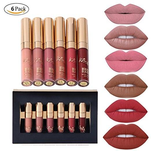 6 pçs/set Kit de Maquiagem Batom Matte Lip Gloss de Longa Duração do Batom Cosméticos conjunto de mini brithday edição kyshadow