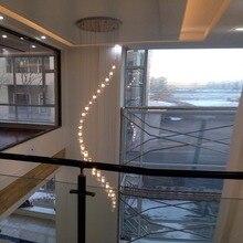 Larga Espiral Araña de Cristal araña de cristal de La Escalera de Iluminación lámparas escalera lámparas de luz de techo de alta cuerda grande