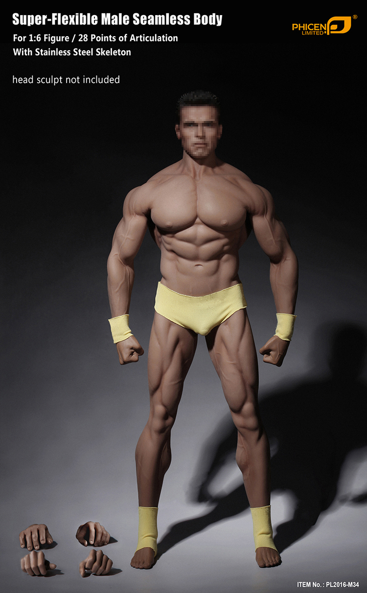 New Phicen PL2016 M34 1 6 Scale Super Flexible Male Seamless Body For 1 6 Headless