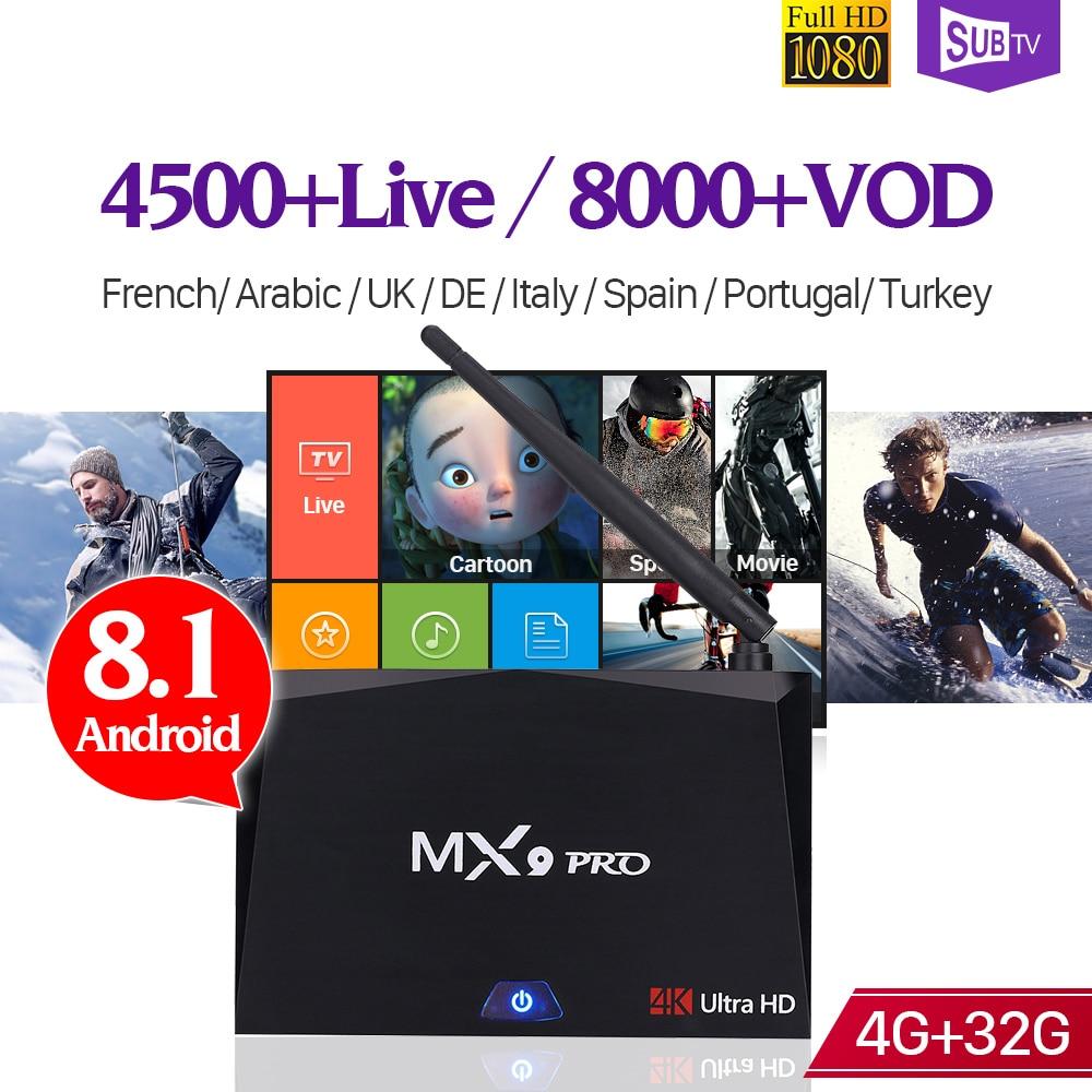 Full HD Francia Arabo SUBTV IPTV Box Android 8.1 4g 32g RK3328 Dual Band Wifi MX9 Pro con 1 anno IPTV Belgio Francese Arabo