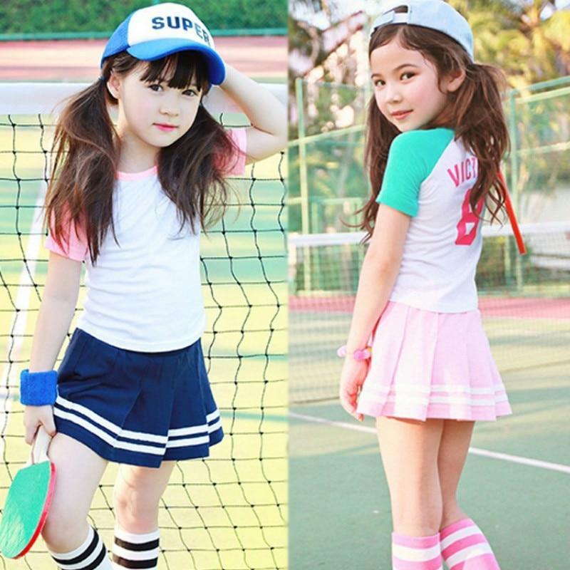 New Summer Kids Teens Girls Clothing Set Sports Track Suits Girls Suit Cotton Short Sleeve T Shirts Tees+Kids Pants Shorts CA020 цена