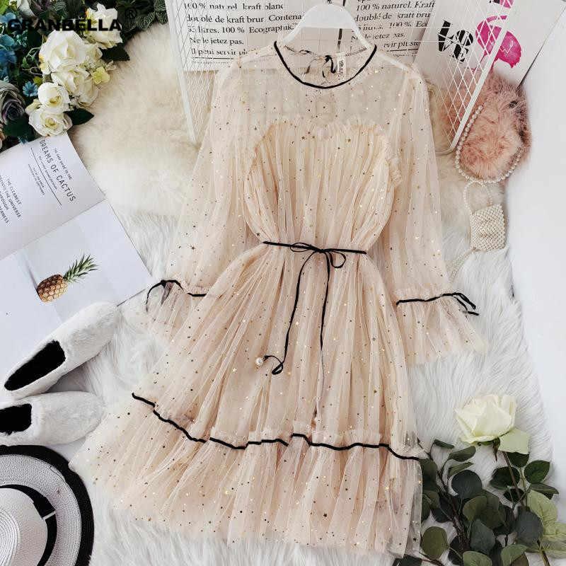 Весна лето новые женские звезды блестки марлевые расклешенные рукава Высокая талия Принцесса платье женские элегантные О-образным вырезом сетки платья
