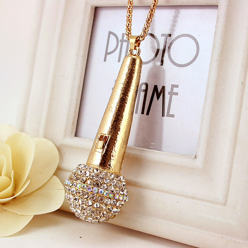 Pro Acme Creative Gold Microphone Necklaces & Pendants for Women Crystal Long Necklace Sweater Chain Christmas Gift PN0255