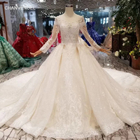 Simple Wedding Dress with long train o neck long sleeve lace up v back bridal dress up flower wedding gown dress discount HTL007