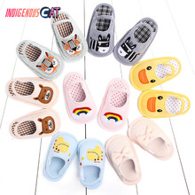 Summer Children Butuo Shoe Baby Home Furnishing Indoor Floor Soft Sole of Shoes Cartoon Non-slip Baby Cotton Slipper Crib Shoes kawai girl soldier sailor moon the cat luna bowknot home cotton flannel slipper ma am indoor non slip floor slipper girl s shoes