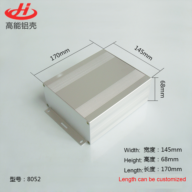 1 piece aluminum housing case for electronics project case 68(H)x145(W)x170(L) mm 8052 215 52 263 mm w h l aluminum extruded enclosures housing project box case
