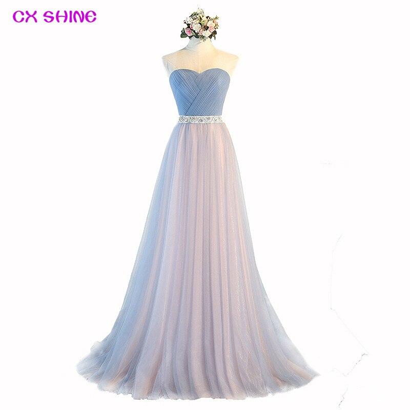 CX SHINE NEW Custom Color Pink Blue Purple long evening dresses tulle lace belt robe de soiree prom party bride dress Vestidos