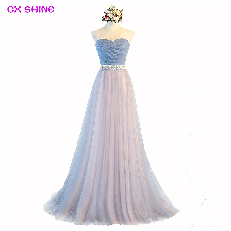 CX SHINE Custom Color Blue Tulle Strapless Long evening Dresses Bridal Banquet Sexy prom Party Formal Gown dress Robe De Soiree