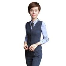 Professional ol Business formal female stripe vest pants suits fashion slim office ladies plus size work wear vests suits tops