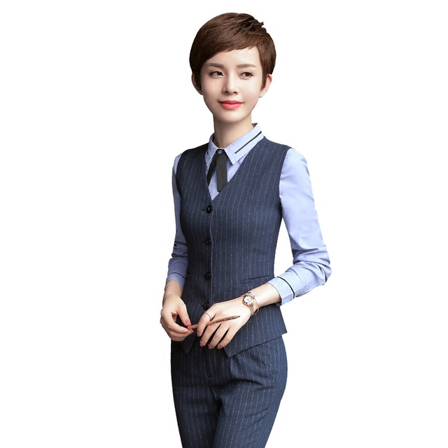 Professional Ol Business Formal Female Stripe Vest Pants Suits Fashion Slim Office Las Plus Size Work