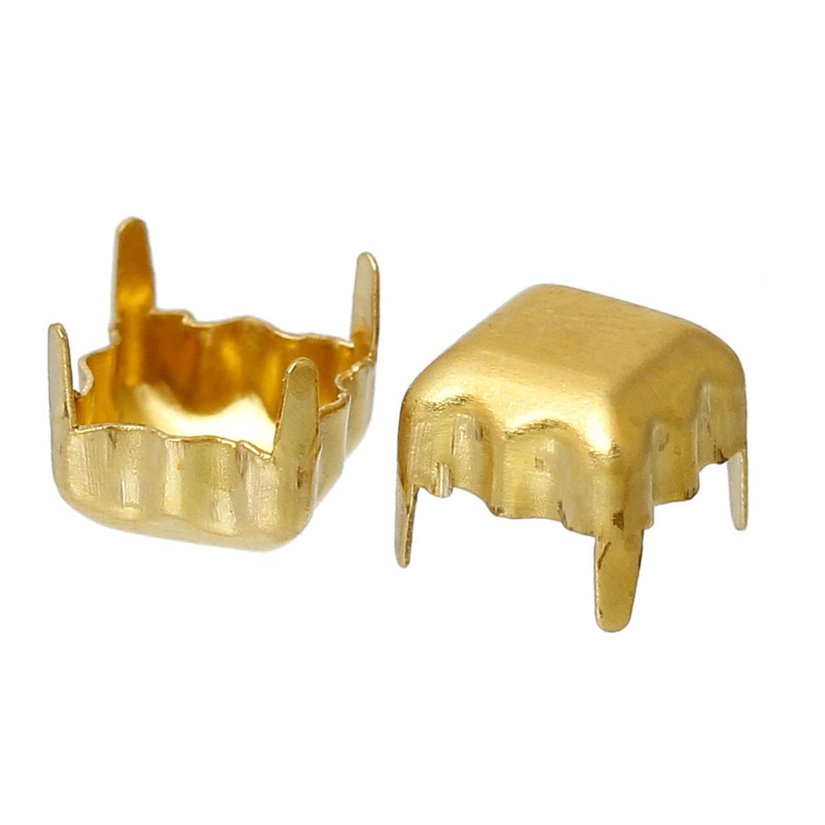 DoreenBeads Brass Cabochon Frame Settings Square Brass Tone Blank Cabochon Settings(Fits 5mm x 5mm)5mm(2/8)x 5mm(2/8),500 PCs