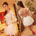 High Quality Whit Lace Short Cockati Party Dresses Sheer See Through Back Sweetheat Long Sleeve Cocktail Dress Vestido De Festa