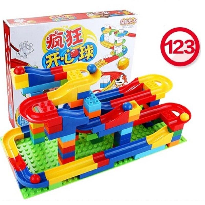 Free shipping 123pcs DIY Construction Marble Race Run Maze Balls Track Plastic House Building Blocks Toys
