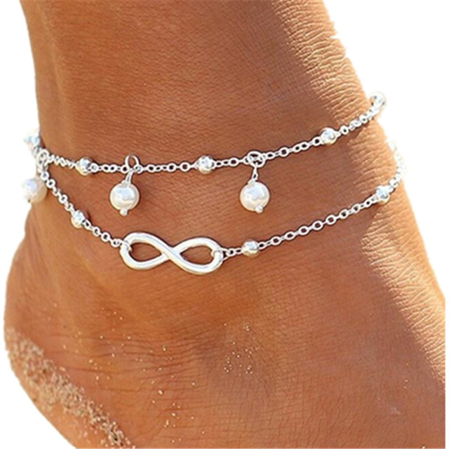New Vintage Simulated-pearl Anklets Foot Jewelry 8 Chain Women Gold Fashion Ankle  Bracelet For Leg Beach Jewelry Enkelbandje 9fe928822e4d