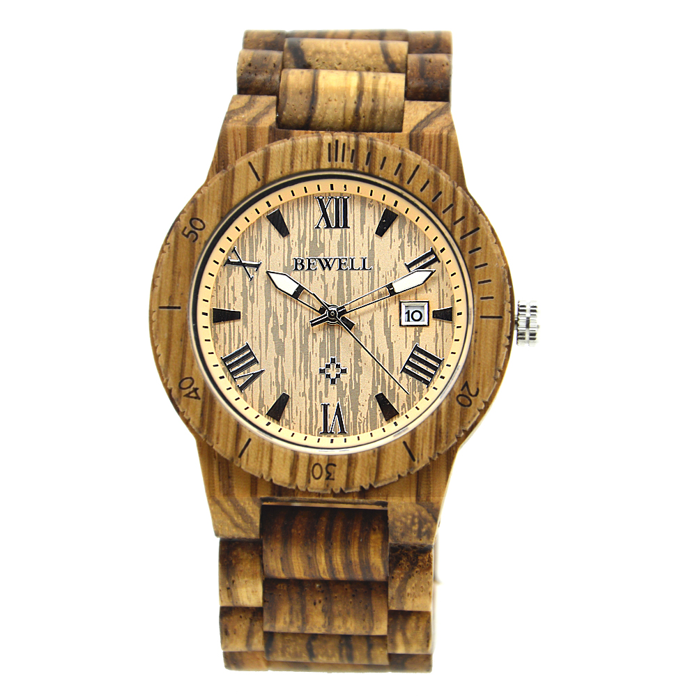 BEWELL Top Brand Designer Mens Wood Watch Zabra Wooden Quartz Watches for Men Watch in Paper Gift Box 109B bobo bird wh05 brand design classic ebony wooden mens watch full wood strap quartz watches lightweight gift for men in wood box