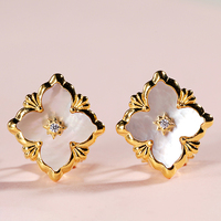 925 Silver Zircon Ear Stud Jewelery Women European Court style vintage style
