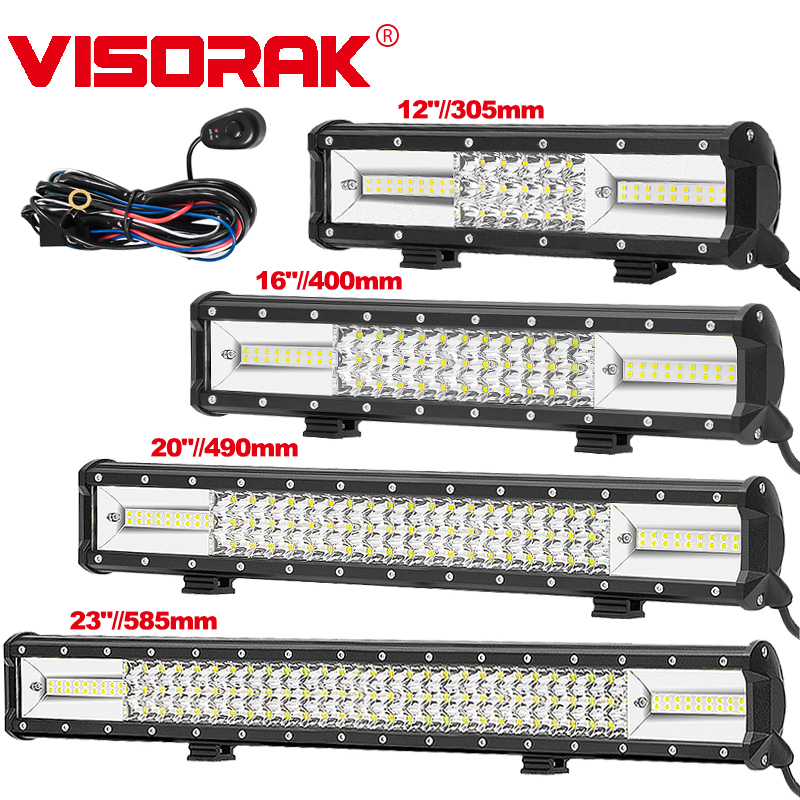 VISORAK 3-Row 12 16 20 23 Offroad LED Light Bar 24 12 v v mancha de Inundação LEVOU Trabalho Barra de Luz Para O Caminhão ATV SUV Jeep 4WD 4x4 LEVOU Bar