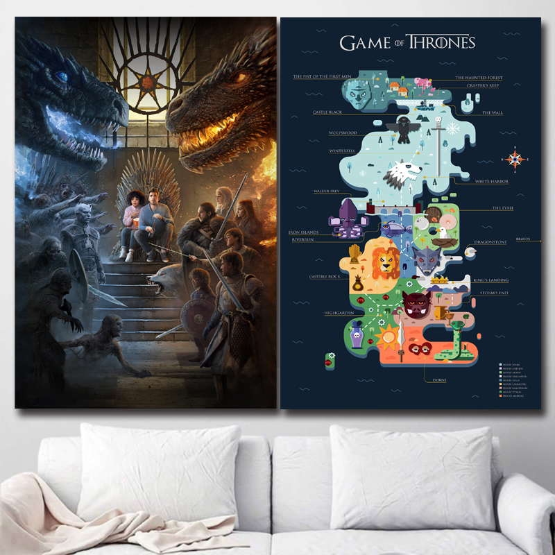 Game Of Thrones Infographics Mother Of Dragons Prints Picture Modular Paintings For Living Room Poster On The Wall Home Decor image