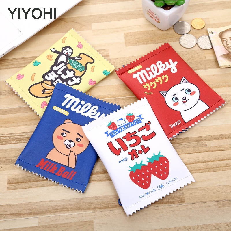 YIYOHI Creative Candy Snacks Coin Purse Children PU Leather Zipper Change Purse Women Wallet Holders Mini Money Bag Kids Gift