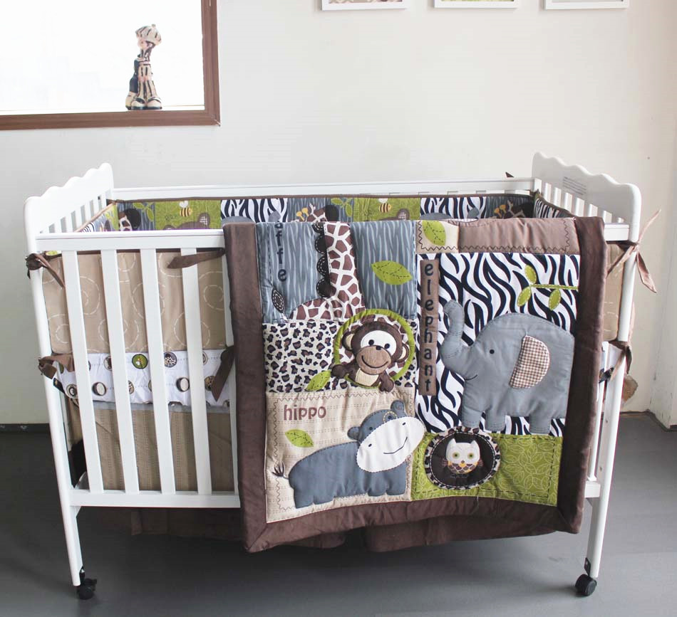 Promotion! 7PCS embroidery High quality crib baby bedding set Pure cotton crib bumper ,include(bumper+duvet+bed cover+bed skirt)