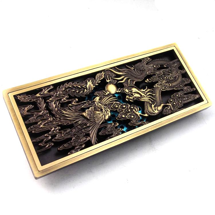 Antique brass bathroom dragon phoenix toilet floor drain shower drain free  ship toilet time floor golf game set