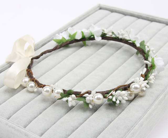 0a3ff555e96 2016 Bridal Bridesmaid white flower Headband Princess pearl headwear female  party hairband Photography accessories 120pcs lot