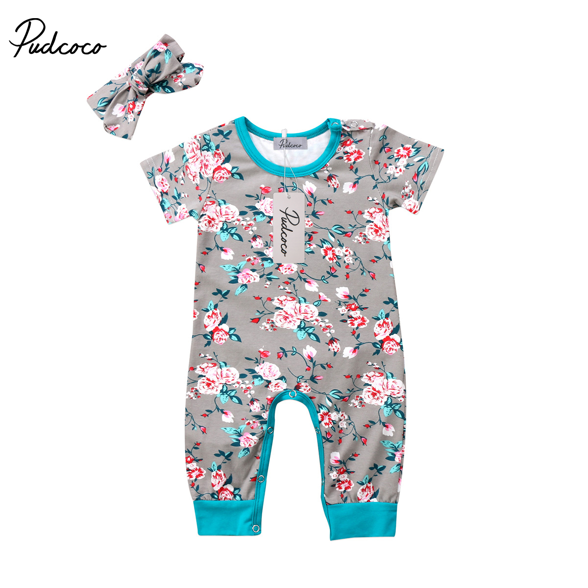 UK Newborn Kids Baby Girl Floral Romper Jumpsuit Outfits Sunsuit Clothes 0-18M