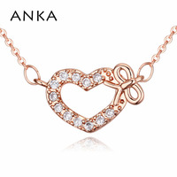ANKA Women Romantic Love Heart Bow Pendant Necklaces Gold Color Long Necklace Accessories Birthday Gift Decoration