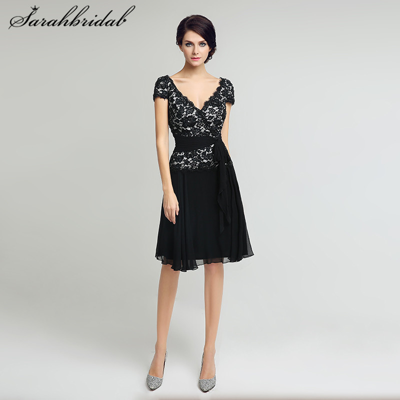 Elegant Black Lace Mother of the Bride Dresses Short Sleeves V-Neck A Line Lace Top Women Formal Party Gowns Knee Length LX209