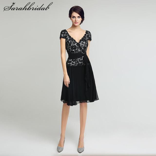 5e4af289636 Elegant Black Lace Mother of the Bride Dresses Short Sleeves V-Neck A Line  Lace Top Women Formal Party Gowns Knee Length LX209