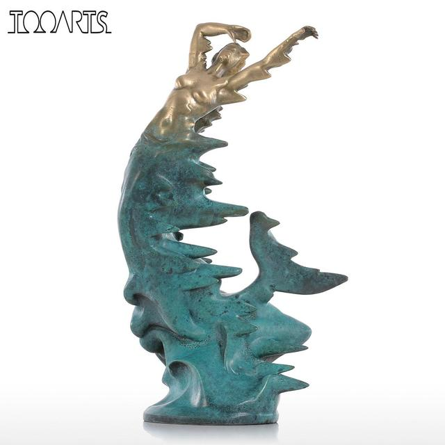 tooarts tomfeel mermaid bronze statue retty modern style sculpture home decor animal for office and home