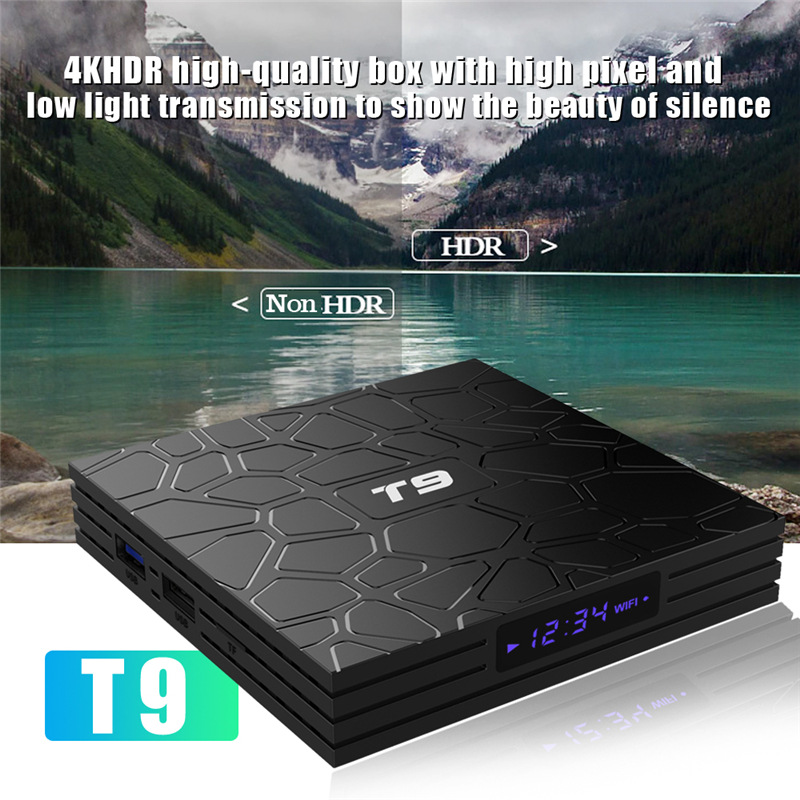 Nouveau Android Tv Box Smart TV Box T9 4 GB RAM 32 GB/64 GB ROM Rockchip RK3328 H.265 4 K en option 2.4G/5 Ghz double WIFI TVbox décodeur