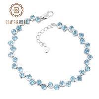 GEM'S BALLET Zwitserse Blue Topaz Echt 925 sterling zilveren Natuurlijke Edelstenen Ketting Link Armband Luxe Fijne Sieraden Voor Vrouw