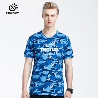 TECTOP Summer Short T Shirt Men 2018 Outdoor Sport Quick Dry Breathable Camouflage Hiking Camping Running