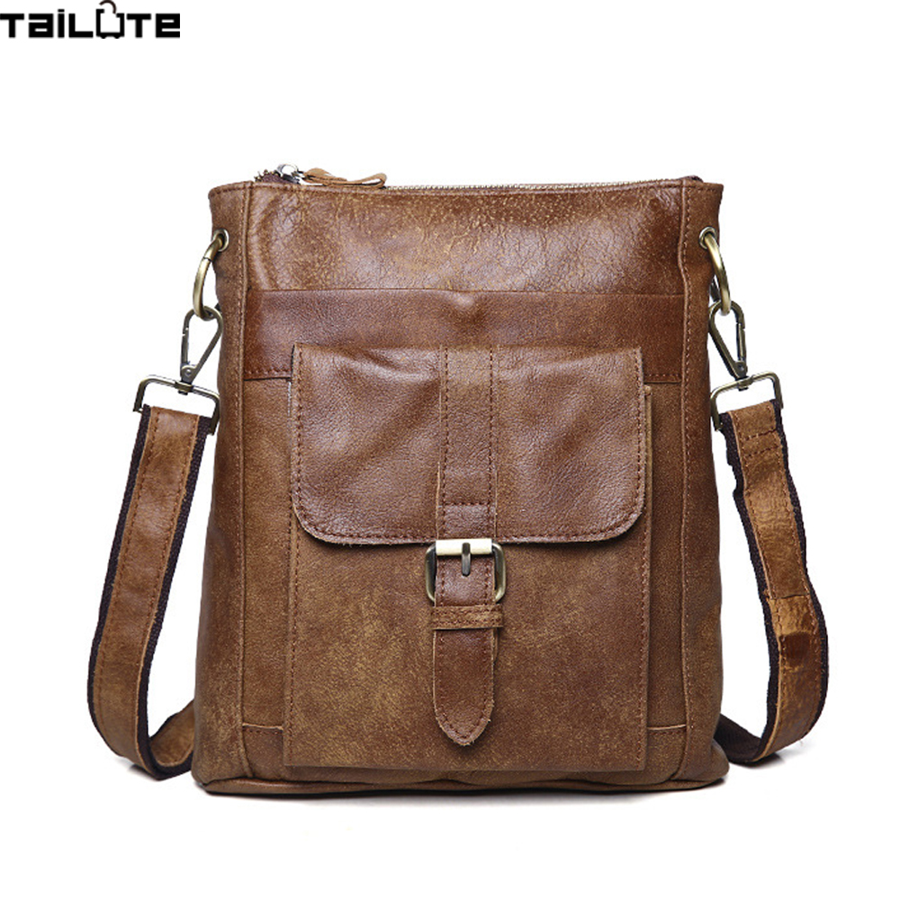 ФОТО TAILUTE Men's Genuine Leather Messenger Bag Crossbody Shoulder Bag For Men Business Fashion Casual Travel Bags