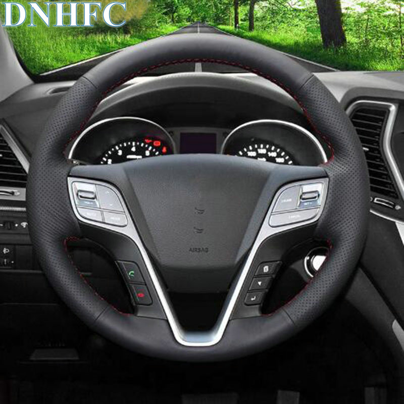 DNHFC Black Leather Hand Stitched Car Steering Wheel Cover