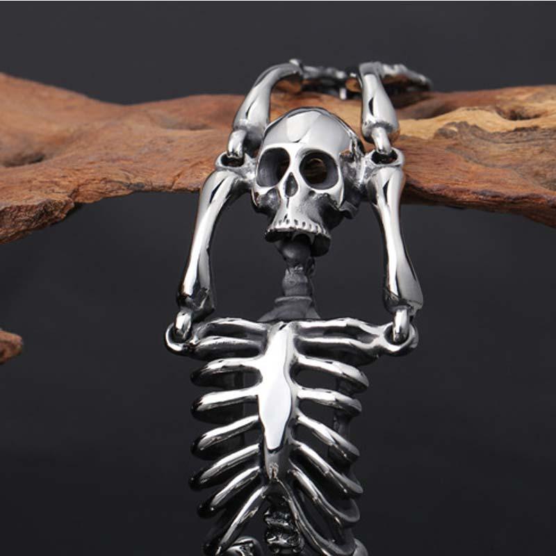 Bracelet squelette en acier inoxydable bijoux gothiques Punk pour hommes bijoux masculins en titane - 6