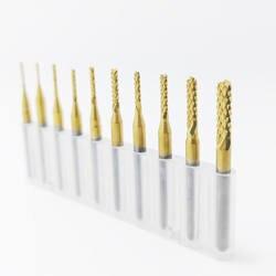 1 шт. мм 3,175 мм-0,8 мм титановое покрытие карбида фреза гравировальный резец для подрезки кромок ЧПУ фрезы Концевая мельница для машина pcb