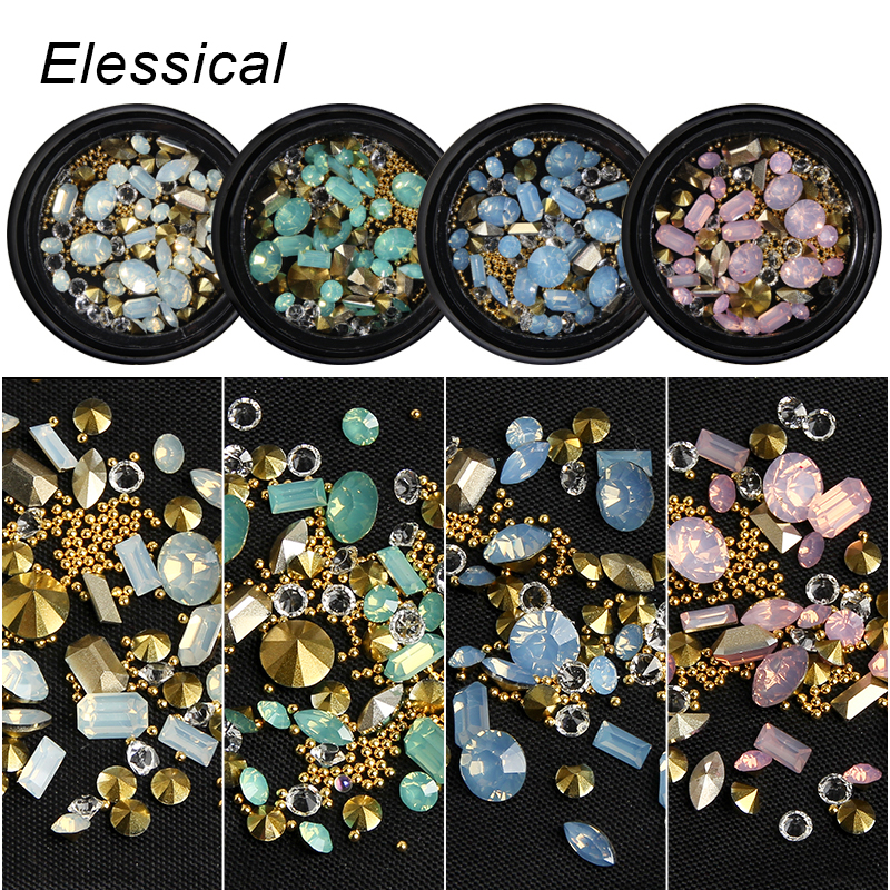 ELESSICAL Mixed Shape Opal Nail Resin Rhinestones Gems 3D Tip Drill Copper Nail Charm Beads Studs Manicure Nails Art Decorations 0 8mm 20000pcs colorful mini nail art beads gardient rhinestones 3d tip decoration for nail uv gel manicure nail art decorations