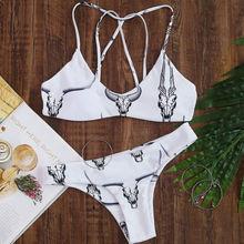 Women Swimwear Bandage Animal Print Floral Bikini Set Printing Push-up Bra Bathing Suit Swimsuit White